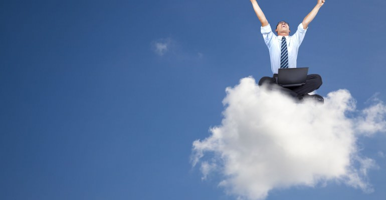 Get ahead in the cloud - stock photo