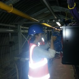 NVT Group employee checks cabling