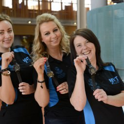 NVT Players with their sports watches presented as our thank you for their assistance at Glasgow 2014