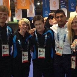 NVT Players meet Amir Khan in the Uniform and Accreditation Centre