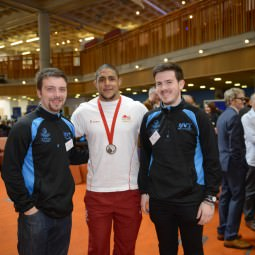 NVT Players with Leon Rattigan, bronze medallist at the Glasgow 2014 Commonwealth Games