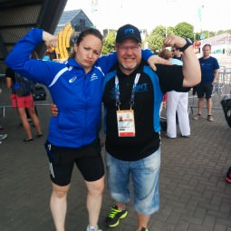 Meeting the athletes outside the Clyde Auditorium