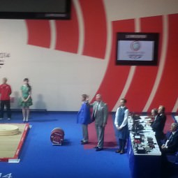 Stephen Park Brown at a Glasgow 2014 medal ceremony