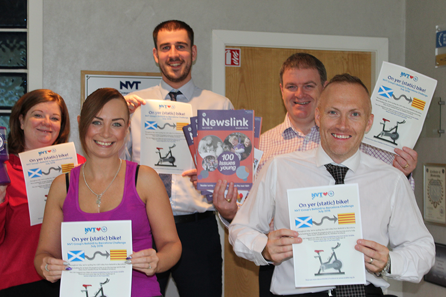 NVT Group static cyclists celebrate completing the Bellshill to Barcelona Challenge