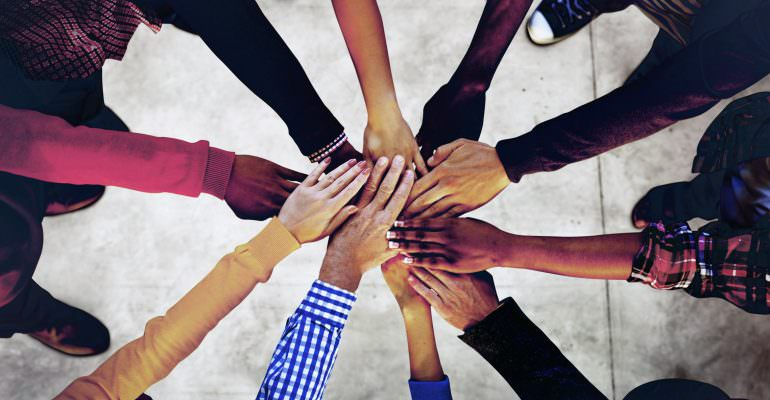 51696884 - group of diverse multiethnic people teamwork concept